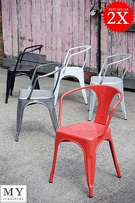 Set of 2 Tolix style Vintage French Cafe ArmChairs Gunmetal  Red Black White