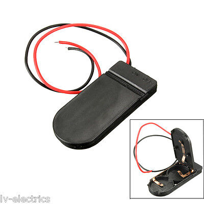 CR2032 x2 Button Coin Cell Battery Holder Case Box on/off Switch Wire Lead cx
