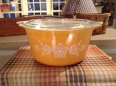 Pyrex Butterfly Gold Baking/Casserole Dish, 1L, 473-B, With Lid