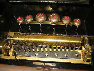 LARGE ANTIQUE VICTORIAN SWISS CYLINDER BELL MUSIC BOX WITH 6 BELLS!