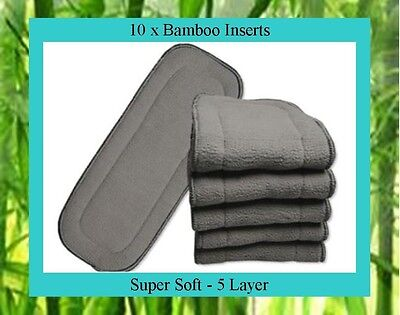 10 x Bamboo Charcoal Inserts / Boosters for Cloth Nappies - Approx. 33cm x 13cm