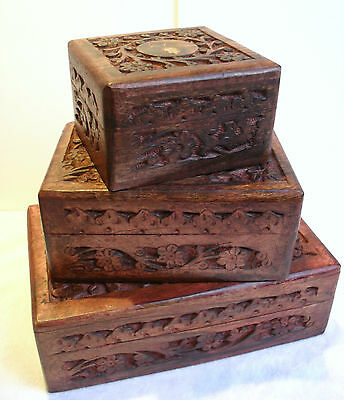 Jewellery Trinket Box Floral Hand Carved Wood Box Small Medium Large