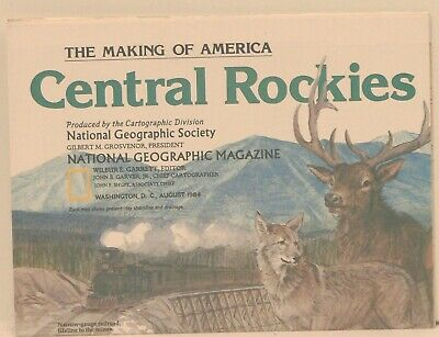Vintage 1984 National Geographic Map of the Central Rockies