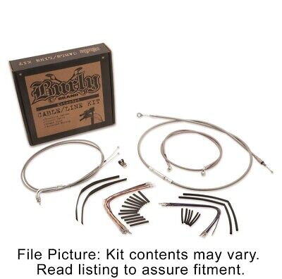 "Burly Braided Stainless Steel Cable Kit 16"" Apehangers Harley FL Softail 00-06"