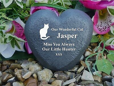 Cat Memorial Heart - Stone Effect - Personalised & Completely Weatherproof