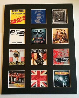 """SEX PISTOLS DISCOGRAPHY PICTURE MOUNTED 14"""" By 11"""" READY TO FRAME"""