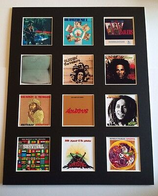 "BOB MARLEY DISCOGRAPHY PICTURE MOUNTED 14"" By 11"" READY TO FRAME"