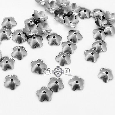 100 x Domed Stainless Steel 6mm Flower Bead Caps - Smooth Polished Finish
