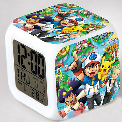 Pokemon Pikachu Figures 7 Color Changing LED Night Light Alarm Clock Watch Toy