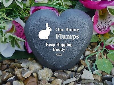 Rabbit Memorial Heart - Stone Effect - Personalised & Completely Weatherproof
