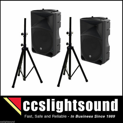 MACKIE THUMP15 15-INCH 1000W POWERED SPEAKERS x 2 - PLUS SPEAKER STANDS x 2