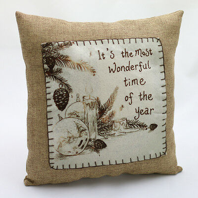 "VINTAGE IT""S THE MOST WONDERFUL TIME PILLOW Burlap Primitive Country Christmas"