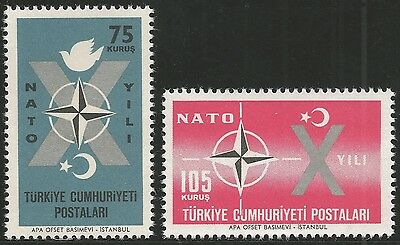 1962 Turkey, 10th Anniversary of NATO Admission. Set of 2v., MNH