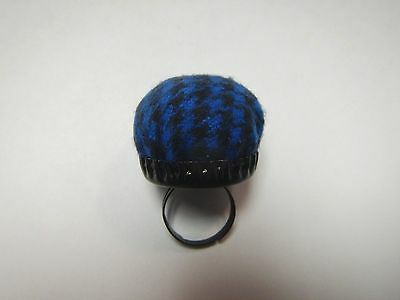 Houndstooth Adjustable Pin Cushion Ring Black&Blue Fashion Designer Sewing Craft