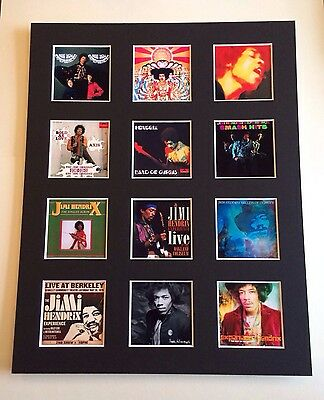 "JIMI HENDRIX DISCOGRAPHY PICTURE MOUNTED 14"" By 11"" READY TO FRAME"
