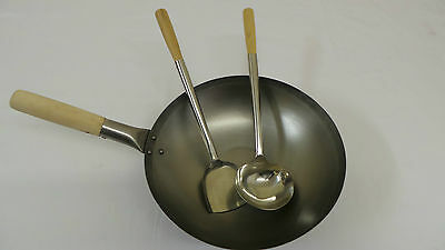 "13"" Flat Bottom Carbon Steel Wok with Stainless Steel Ladle & Turner."