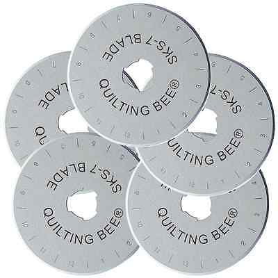 NEW 5-Pack 45mm Rotary Cutter Blades for Olfa, Fiskars, Quilting Bee (RB4505)