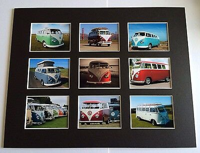 """VW CAMPER VAN VINTAGE RETRO POSTER PICTURE MOUNTED 14"""" By 11"""" READY TO FRAME"""