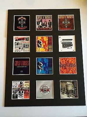 "GUNS N ROSES SLASH DISCOGRAPHY PICTURE MOUNTED 14"" By 11"" READY TO FRAME"