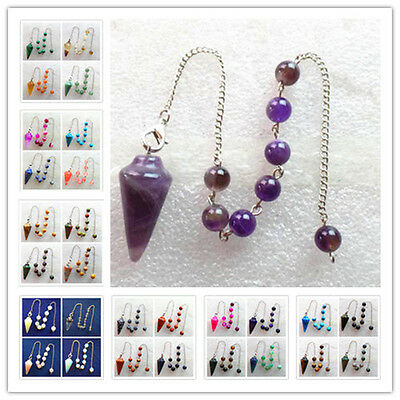 Beautiful Mixed Gemstone Pendulum with Pouch Divination Healing Wicca XLZ-247