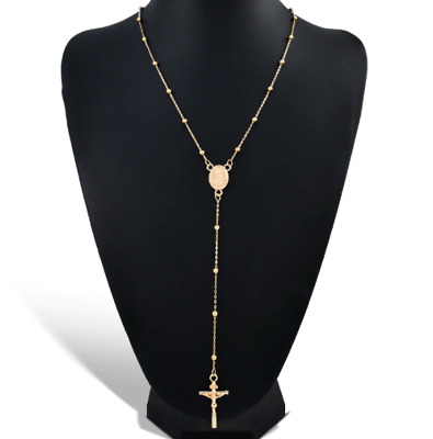 Gold First Holy Communion Rosary Beads Rosaries Catholic Prayer Necklace UK Sell