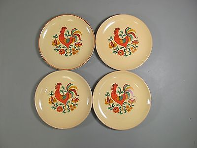 Set of 4 Taylor Smith & Taylor REVEILLE-RED TRIM Bread & Butter Plates EXCELLENT