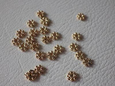 100 x PALE Rose Gold Plated Metal Spacer Beads: AA146 Flower