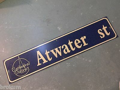 "Vintage ATWATER ST Cathedral District Street Sign 42"" X 9"" -GOLD on NAVY Ground"
