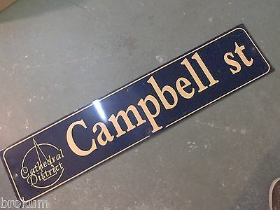 "Vintage CAMPBELL ST Cathedral District Street Sign 42"" X 9"" -GOLD on NAVY Ground"