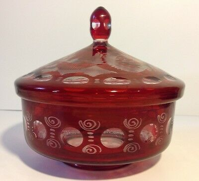 "Vtg Bohemian Cut To Clear Cranberry Red Ruby Lidded Glass Bowl 7"" x 6 1/2"""