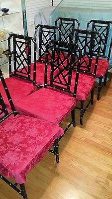 "Vintage Set Of 8 Faux Bamboo Chinese Chippendale Chairs Large Seats 19"" By 22""!!"