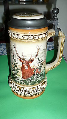 Authentic Gerz Beer Stein Mug from Germany 7 1/2 inch tall Deer Design Beautiful