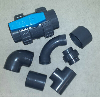 """PVC SOLVENT WELD PIPE FITTINGS - 1/2"""" to 4"""" - POND PRESSURE PLASTIC INDUSTRIAL"""