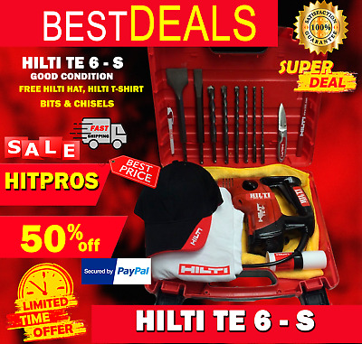 Hilti Te 6-S, Preowned, Free Hilti Hat, Set Of Bits, Chisels, Fast Ship