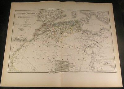 Northwest Africa Morocco Algeria 1854 Weiland fine large hand color antique map