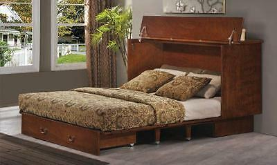 Arason Traditional Creden-ZzZ Murphy cabinet bed, pekoe finish. Opens to Queen