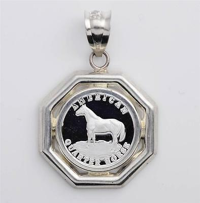 1/20 oz. Pure .999 Silver Quarter Horse Coin (14mm) in S/S Octagonal Pendant
