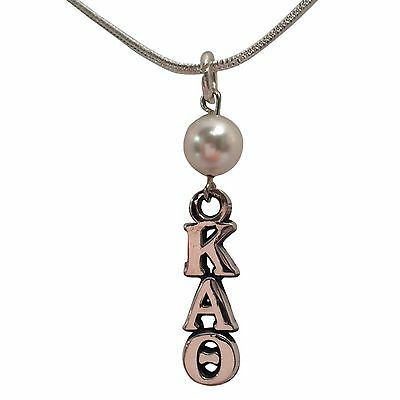 Kappa Alpha Theta Sterling Silver Lavalier w/ White Pearl and Chain