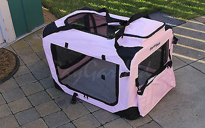 Pink XXL Pet Carrier Crate Cage Cat Dog Bag Travel Comfort Soft Portable New