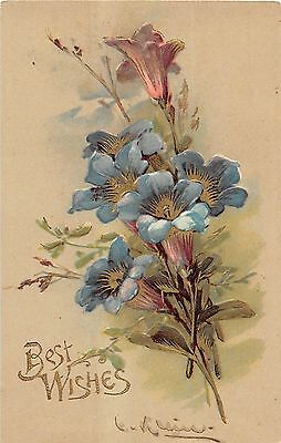 Best Wishes With Stemmed Blue And Purple Flowers Signed Klein Postcard V13714