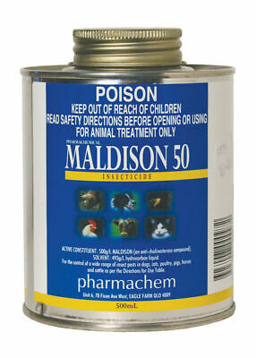 Maldison 50 Insecticide ticks lice mites Dogs Cats Poultry Pigs Horses Cattle