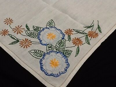 "VINTAGE LINEN HAND~EMBROIDERED TABLECLOTH ~ FLORALS~ LOVELY~ 33"" X 33"""