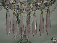 Pink Crystal U-Drop Prism Chandelier Lamp Pendant 16Pcs