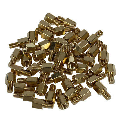 50 Pcs Brass Screw PCB Standoffs Hexagonal Spacers M3 Male x M3 Female 5mm ED