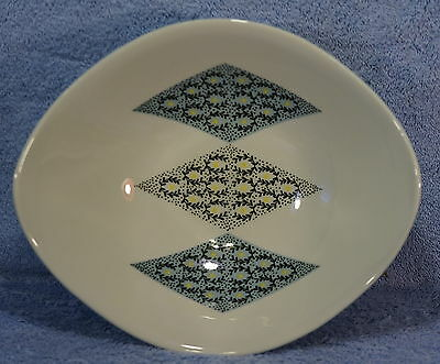 "IROQUOIS Blue Diamonds Oval Vegetable Serving Bowl 10 1/2"" x 9"""