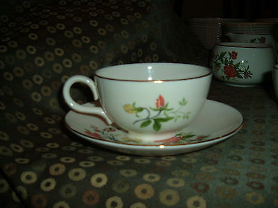Lot of 5 Homer Laughlin Rhythm China Orange & Yellow Flowers cups (no saucers)