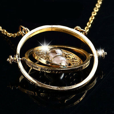 Harry Potter Hermione Granger Rotating Time Turner Necklace Gold Hourglass OR