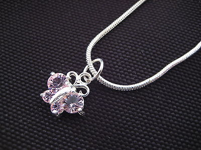Silver Plated Girls Pink Crystals Butterfly Charm ~ Pendant & Necklace