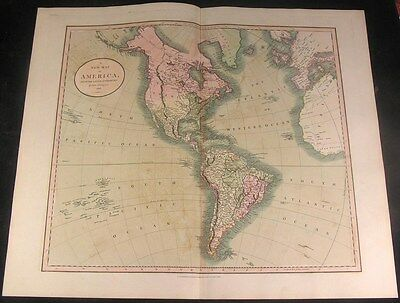 North & South America 1806 Cary folio full lovely color antique map