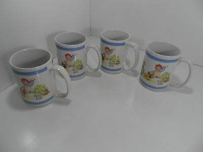 Vintage Houston Harvest Raggedy Ann and Andy Coffee Mugs Set Of 4 - EC
